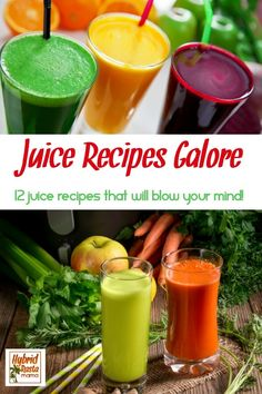 Need some healthy juice recipes? With 12 of the best juicing recipes to choose from, you are sure to find a new favorite! Who said healthy juices were boring? Fresh Juice Recipes, Best Juicing Recipes, Healthy Juice Recipes, Healthy Juices, Healthy Fruits, Healthy Smoothies, Fruits And Veggies, Healthy Drinks, Real Food Recipes