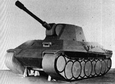 Wooden mockup of Krupp proposal for waffentrager based on Panther's chassis. Vehicle supposed to be armed in 10,5 cm leFH 18 howitzer or heavier 15 cm sFH 13 howitzer