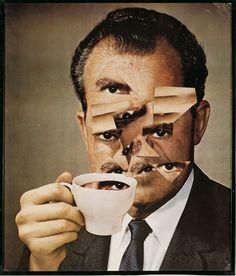 Kjartan Slettemark, Nixon Visions, 1971, collage, 56,5 x 48 cm,