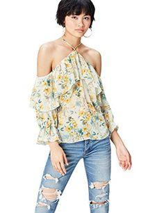 aadc38dcbf3901 FIND Damen Bluse mit Chiffon und Blumenmuster Mehrfarbig (Yellow Mix) 42  (Herstellergröße