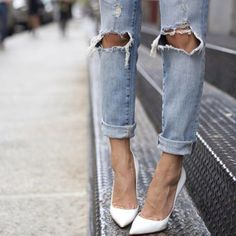 white pumps and ripped jeans