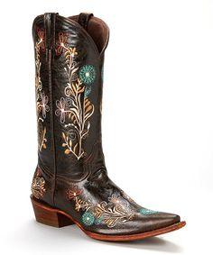 Look at this #zulilyfind! Dark Brown Floral Embroidered Leather Cowboy Boot by Pecos Bill #zulilyfinds
