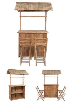 Canopy Drinks Bar Set Stand Outdoor Bamboo Patio Furniture Stools High Stools