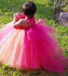Sherbet Delight Tutu Dress Flower Girl by FloppyBunnyBoutique, $45.00