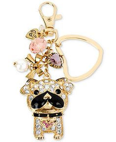 Betsey Johnson Key Chain, Gold-Tone Sparkle Bull Dog Dangling Key Chain - Fashion Jewelry - Jewelry & Watches - Macy's