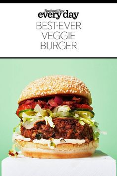 Best veggie burger recipe ever! Zucchini Pickles, Best Veggie Burger, Balsamic Onions, Oven Roasted Tomatoes, Rachel Ray, Mashed Sweet Potatoes, Vegetarian Cheese, Burger Recipes, Burgers