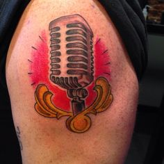 Tattoo by Chris Davis #microphone #microphonetattoo #oldschoolmic #cityofinkedgewood