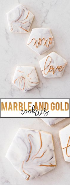 Make these beautiful marble and gold cookies!