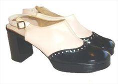 60s Mod Sling Back Platform Shoes