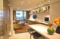 sala pequena integrada cozinha bancada branca