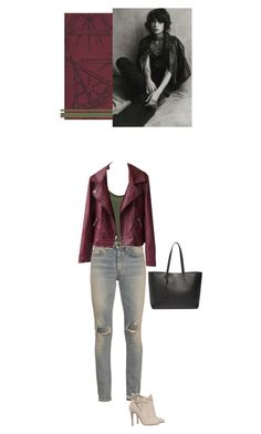 """""""Distressed"""" by blueeyed-dreamer ❤ liked on Polyvore featuring VILA, Yves Saint Laurent, Andrew Martin, Jimmy Choo, casual, Leather and jeans"""