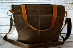 Diaper Bag Waxed Canvas waterproof Tote / cross body Nappy Sack made in the USA by Darby Mack  / faux leather / Espresso brown