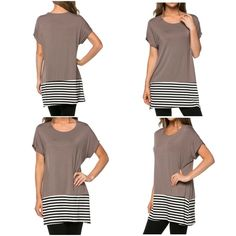 Chic Mocha a Tunic Mocha Chic Top Striped a Trendy around the Bottom. Perfect with Leggings and riding boots. Fall is here!! Fabric 95% Rayon 5% Spandex Made in MADE IN USA small medium large Tops Tees - Short Sleeve