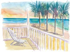 """Saatchi Art is pleased to offer the painting, """"Florida Keys Sunset Tranquility,"""" by M Bleichner, available for purchase at $369 USD. Original Painting: Watercolor on Paper. Size is 7.9 H x 11.8 W x 0.4 in. Florida Keys, West Florida, Florida Travel, Original Paintings For Sale, Original Artwork, Wall Tattoos, Retro Vintage, Retro Poster, Thing 1"""