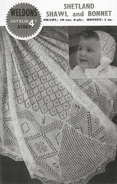 Weldons 1061 shetland lace baby shawl vintage by Ellisadine, £1.15