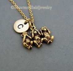 Three Monkeys Necklace, three wise monkeys, monkey charm, see no evil, hear no evil, speak no evil, initial necklace, personalized necklace via Etsy
