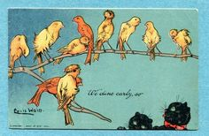 Y0123 Louis Wain  Signed Artist postcard, Black cats and Yellow birds, Davidson