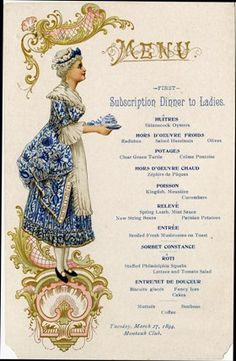 Dinner for ladies; Montauk Club 1898, NY...This site has links to several old menus from restaurants, etc.  Very interesting!