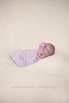 Lavender Stretch Lace Newborn Wrap with Flower by PetuniaandIvy, $23.00