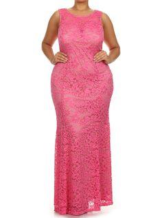 Plus Size Spring Flower Mermaid Pink Maxi Dress