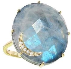Andrea Fohrman Oval Rainbow Moonstone and Hematite Ring with Crescent Moon