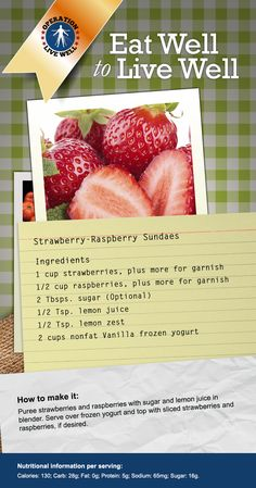 COOL Down with this Strawberry-Raspberry Sundae recipe from #OLW. #strawberry #sundae #summer