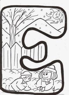 BAÚL DE NAVIDAD: Letras infantiles de invierno para colorear y decorar
