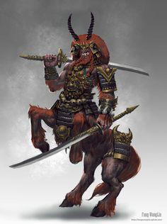 """Centaur Warrior"" by Fang Wang Lin 方王琳 (FangWangLlin) | #Fantasy #Creatures #Centaurs"