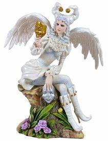Fairy Winged Joker Holding Masks Fantasy Sculpture