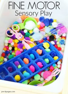 Fine Motor Sensory Bin Play. Use common items from the dollar store to create a fun sensory bin for your preschooler that will help develop fine motor skills too!