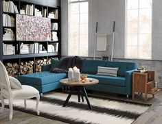 """For today's post, """"modular"""" is the word! Yes, all of the rooms below feature sectional sofas. I'm old enough to remember the days when """"sectional"""" was Tufted Sectional Sofa, Modern Sectional, Blue Sectional, Mini Bars, Modern House Design, Modern Interior Design, Luxury Interior, Blue Sofa Inspiration, Side Chairs"""