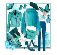 A fashion look from February 2018 featuring free people tops, blue jackets and blue pants. River Island, Jimmy Choo, Marc Jacobs, Prada, Free People, Gucci, Polyvore, Fashion, Moda