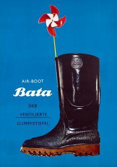 """Air-Boot Bata"" by Herbert Leupin, 1960 #batashoes #bata120years #advertising"