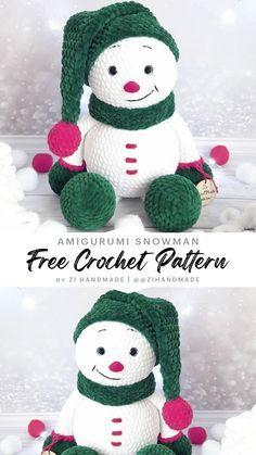 Crochet Christmas Gifts, Crochet Christmas Decorations, Crochet Ornaments, Crochet Decoration, Christmas Knitting, Crochet Snowman, Crochet Teddy Bear Pattern, Crochet Slipper Pattern, Crochet Amigurumi Free Patterns