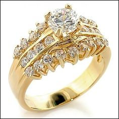 1.45 Carat CZ Gold Plated Anniversary Ring Eternal Sparkles. $21.99