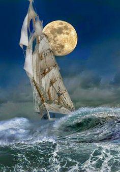 tallship and full moon / Windjammer:  #Windjammer.