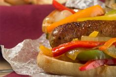 Beer sausage hoagies with peppers
