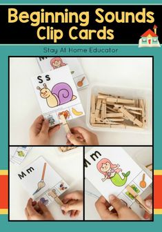 Beginning sounds clip cards for preschool and kindergarten. Designed to work on fine motor skills in addition to letter identification and letter sounds. Writing Activities For Preschoolers, Fine Motor Activities For Kids, Preschool Writing, Spelling Activities, Preschool Letters, Preschool Printables, Alphabet Activities, Spelling Rules, Learning Letters