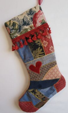 Christmas stocking - Victorian crazy quilt patchwork $ 48.00, via Etsy.