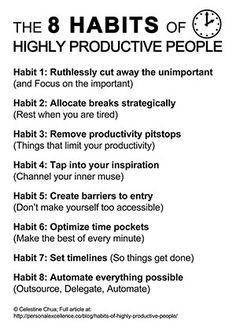 8 Habits of Highly Productive People    Personal Excellence Manifesto by Celes