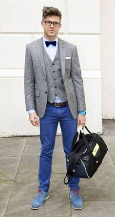 Shop this look on Lookastic:  http://lookastic.com/men/looks/bow-tie-dress-shirt-pocket-square-waistcoat-blazer-belt-watch-chinos-holdall-derby-shoes/5807  — Navy Bow-tie  — White Dress Shirt  — White Pocket Square  — Grey Wool Waistcoat  — Grey Wool Blazer  — Brown Leather Belt  — Aquamarine Watch  — Blue Chinos  — Black Canvas Holdall  — Blue Suede Derby Shoes