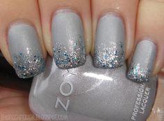 27 Trendy nails design glitter tips china glaze Grey Nail Art, Gray Nails, Matte Nails, Pink Nails, Polish Nails, Gradient Nails, White Sparkle Nails, Grey Nail Designs, New Year's Nails