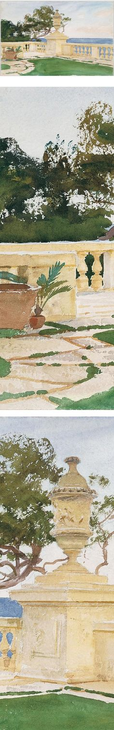 watercolor details,Terrace, Vizcaya, John Singer Sargent via MET