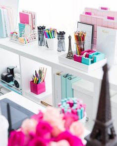 Annawithlove's colorful home office. Love the pink and teal!