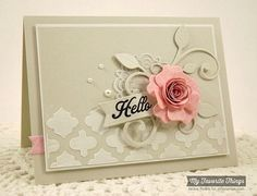 handmade card from The Scalloped Edge: Hello  ... looks to be tones of beige but the description says gray ... luv the peachy rolled paper flower centerpiece of the montage ... stenciled Moroccan tiles with embossing  paste ... die cut doily, leaf flourish and fishtail banner ... beautiful and elegant card ... My Favorite Things ...