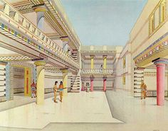 Drawing reconstruction of the Palace of Nestor at Pylos. The Palace of Nestor is the central building of a Middle Helladic era settlement surrounded by a fortified wall. The palace was a two-story building with store rooms, workshops, baths, light wells, reception rooms and a sewage system. The site is the best-preserved Mycenaean Greek palace discovered.