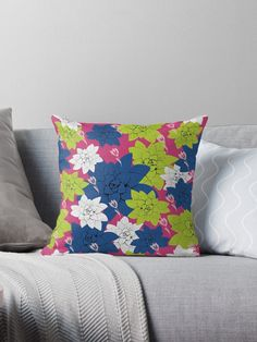 'Echeveria flower in classic blue and lime green ' Throw Pillow by Amanda D-Hay