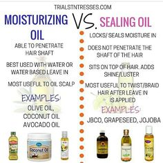 Moisturizing Oil Vs Sealing Oil is part of Natural hair care - It is crucial to your hair regimen that you are able to differentiate a moisturizing oil vs sealing oil so you know when to use which ones Natural Hair Care Tips, Natural Hair Regimen, Natural Haircare, Natural Hair Growth, Natural Hair Journey, Natural Hair Styles, Relaxed Hair Regimen, Natural Hair Products, Curl Products