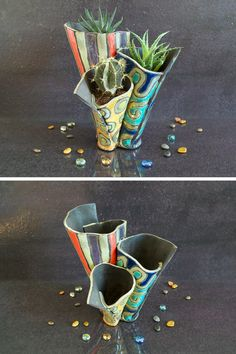 ceramic planter pot raku anemone for plants and succulents  (100.00 EUR) by FedericoBecchettiArt