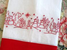 Redwork Snowman Hand Embroidery Linen Tea Towel by countrygarden